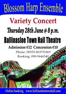 poster for blossom harp concert in Ballinasloe Town Hall28th June 2018