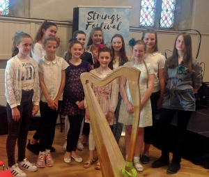 image of the harpists at the Strings Festival Ballinasloe 2017